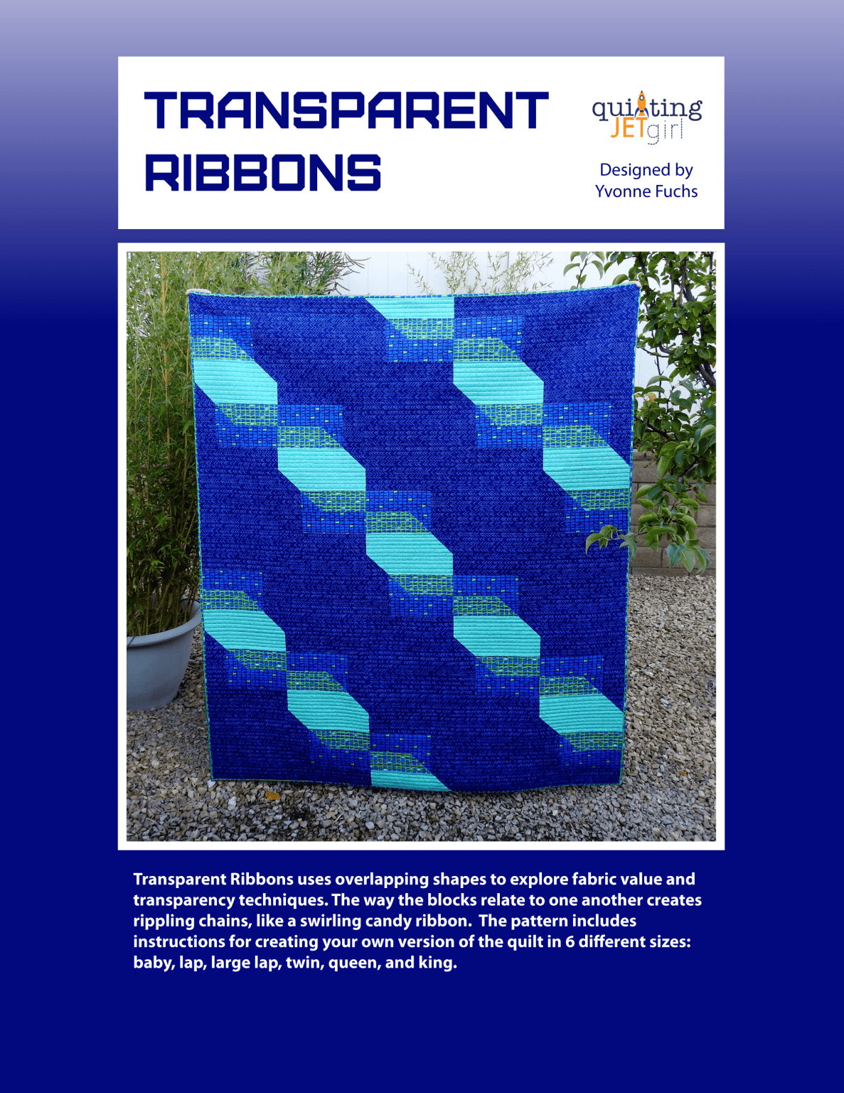 Transparent Ribbons Quilt Pattern - Blue Cover