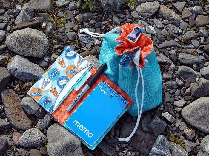 Lined Drawstring Bag and Organizer Wallet