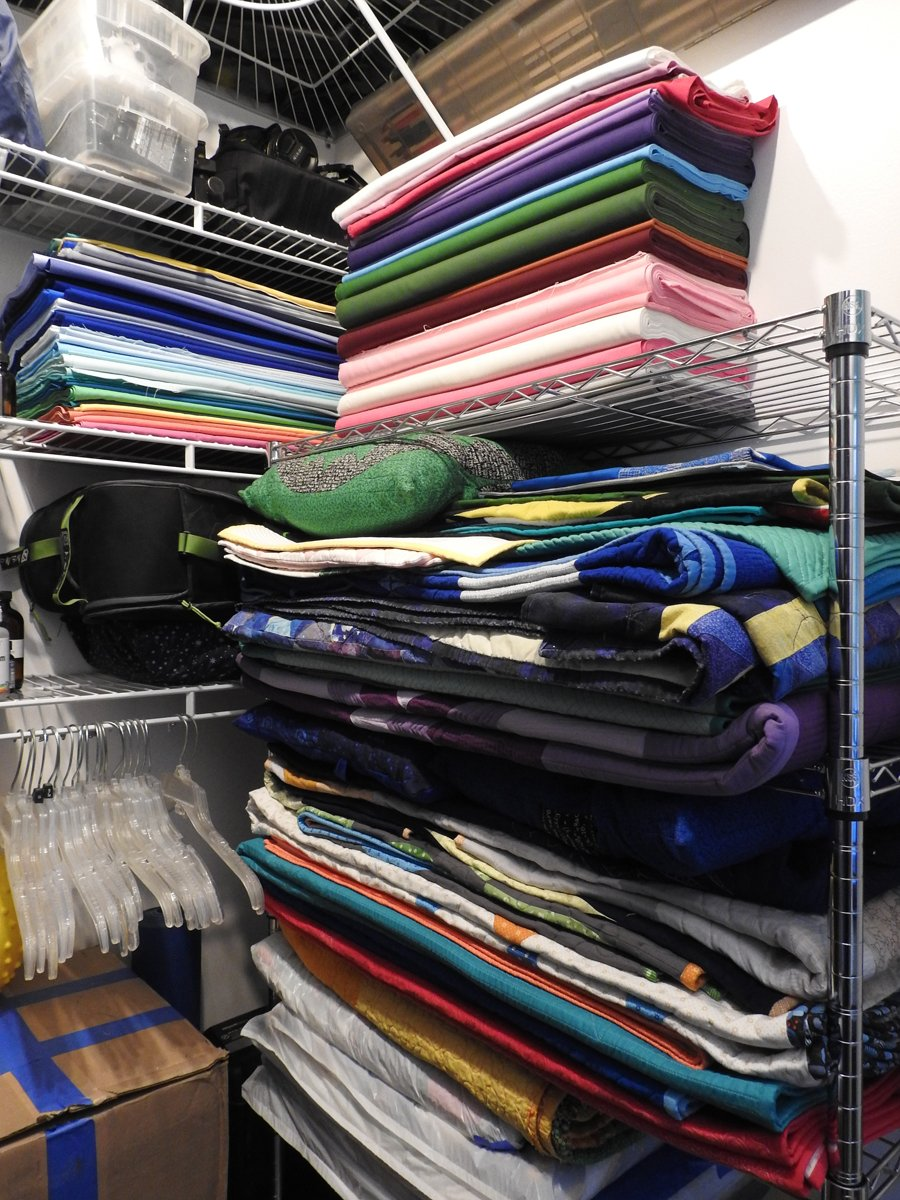 Quilts and Fabric in Super Closet
