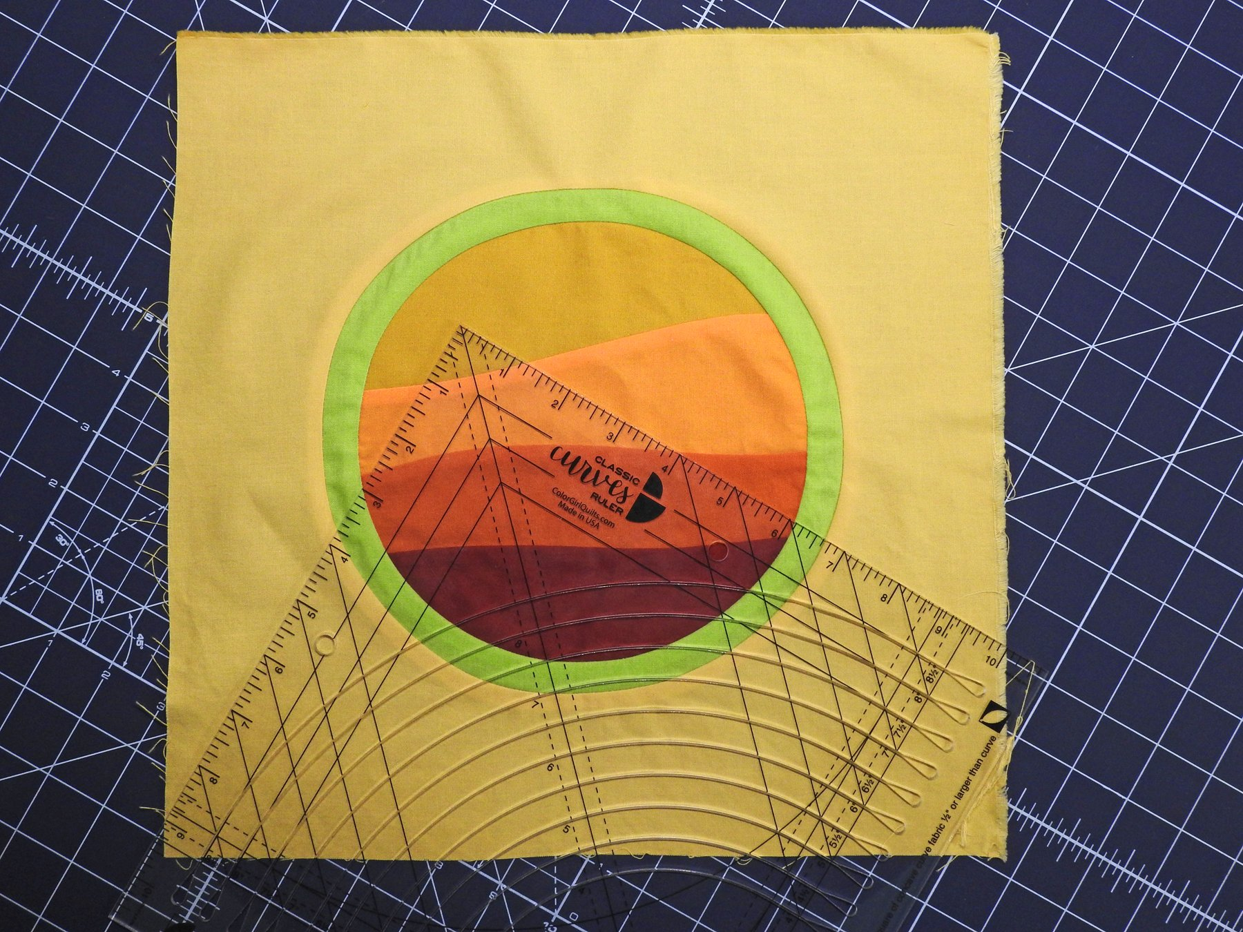Group Quilt Block 1 - Improv Curves and Inset Circles with the Classic Curves Ruler