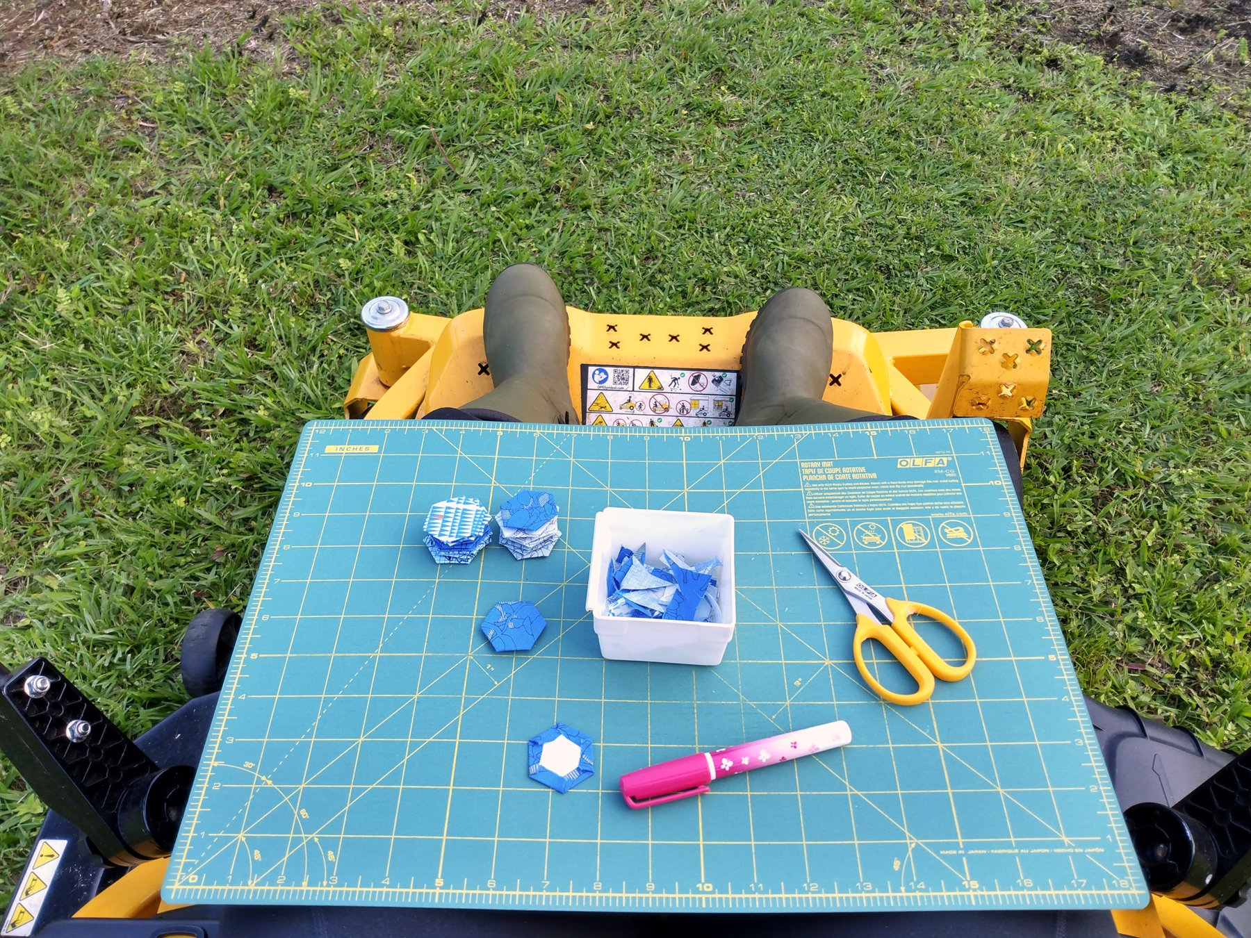 Glue Basting Hexies in the Orchard