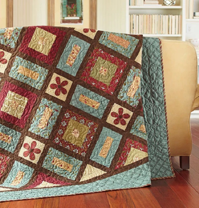 Log Cabins and Flowers pattern