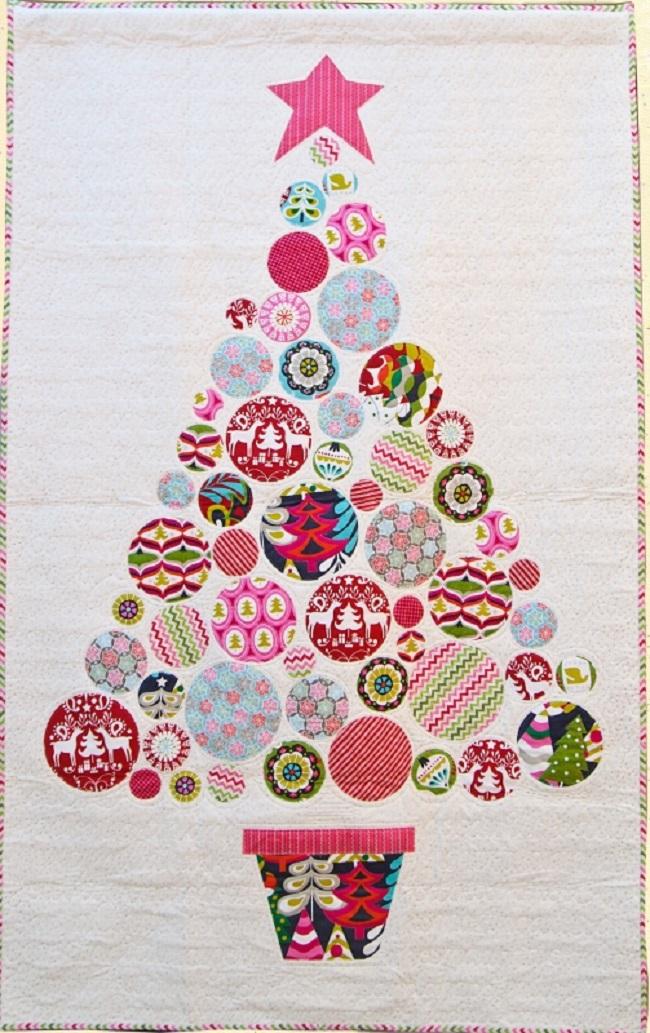Christmas tree with circled fabrics