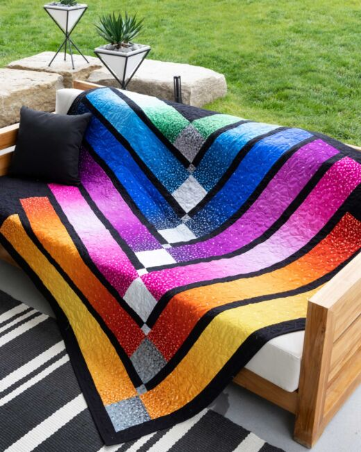 Color Bar Throw Quilt Pattern