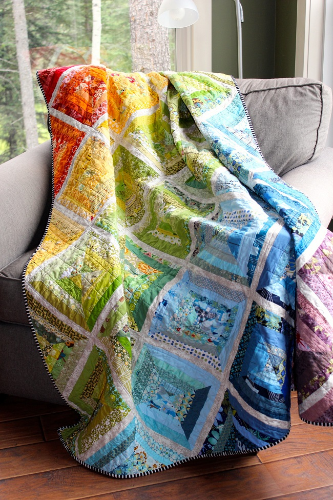 Scrappy Rainbow String Quilt