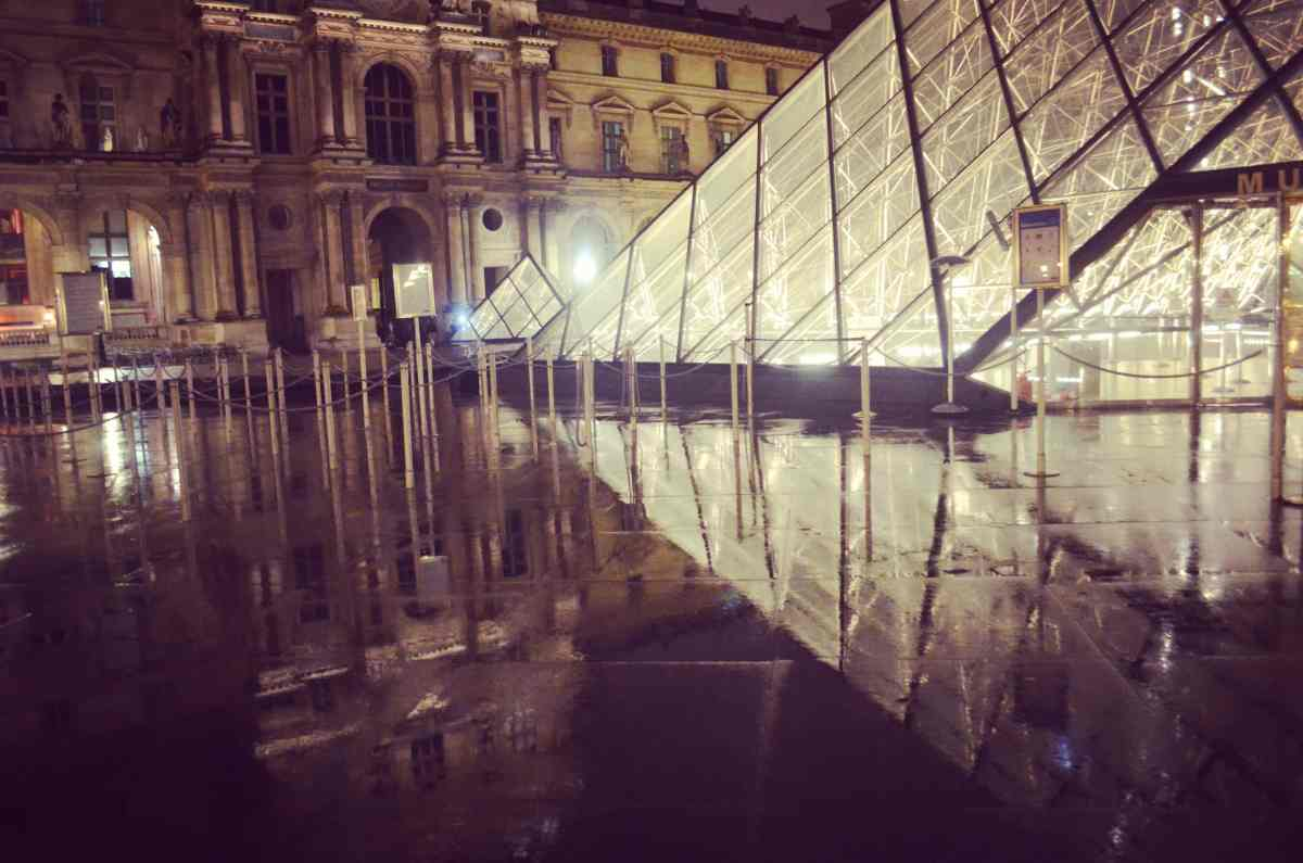 Photo POSTcard: The Louvre at night in the rain