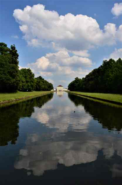 The Nymphenburg Palace is reflected in the Grand Canal