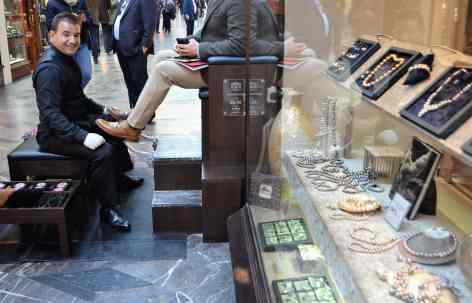 A high end shoe shine in Burlington Arcade
