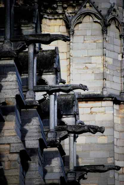 The famous gargoyle water spouts