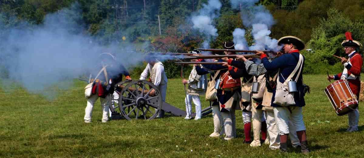 Chadds Ford Days Reenactors shoot off muskets