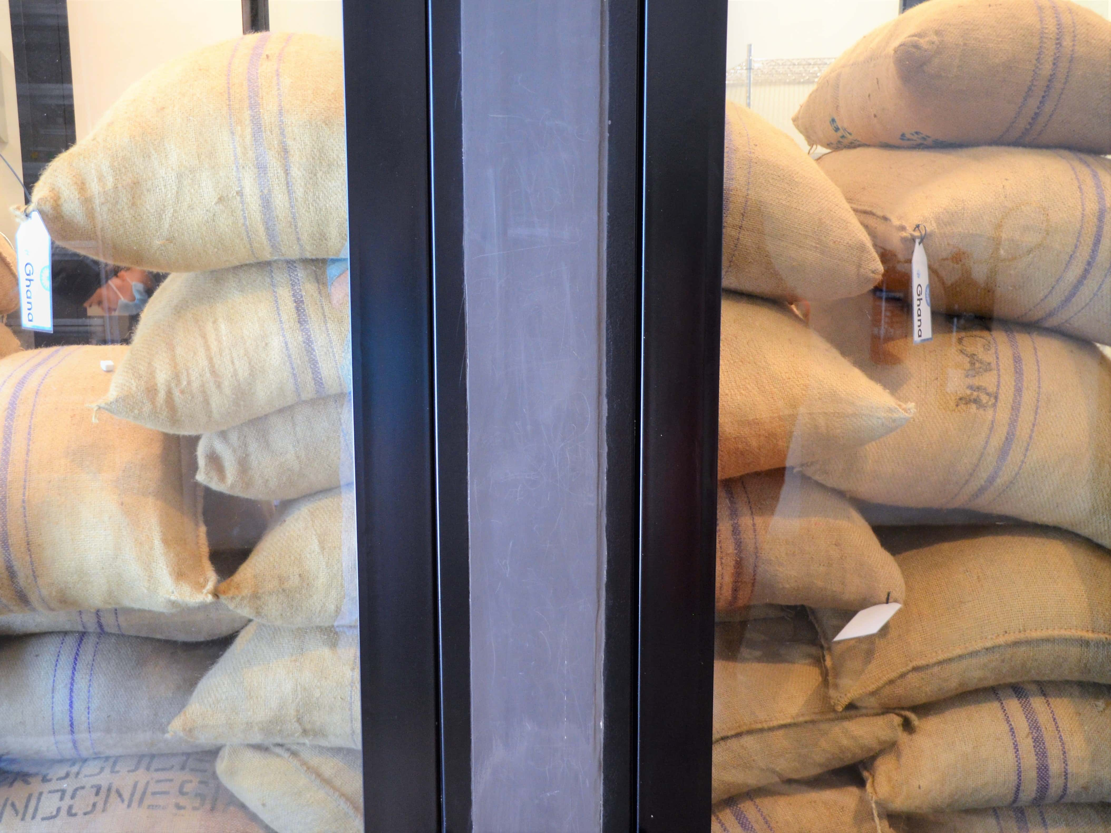 Bags of sole sourced cocoa beans
