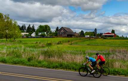 Cyclists enjoying the Quilt Barn Trail along the Tualatin Valley Scenic Bikeway a