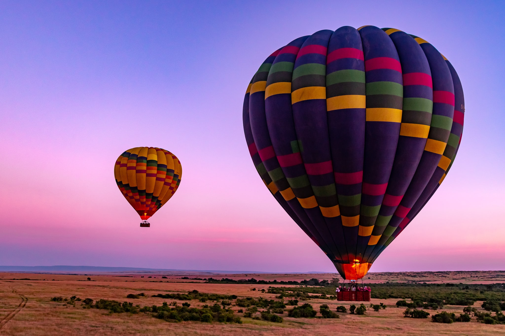 Sunrise balloon ride over the Maasai Mara