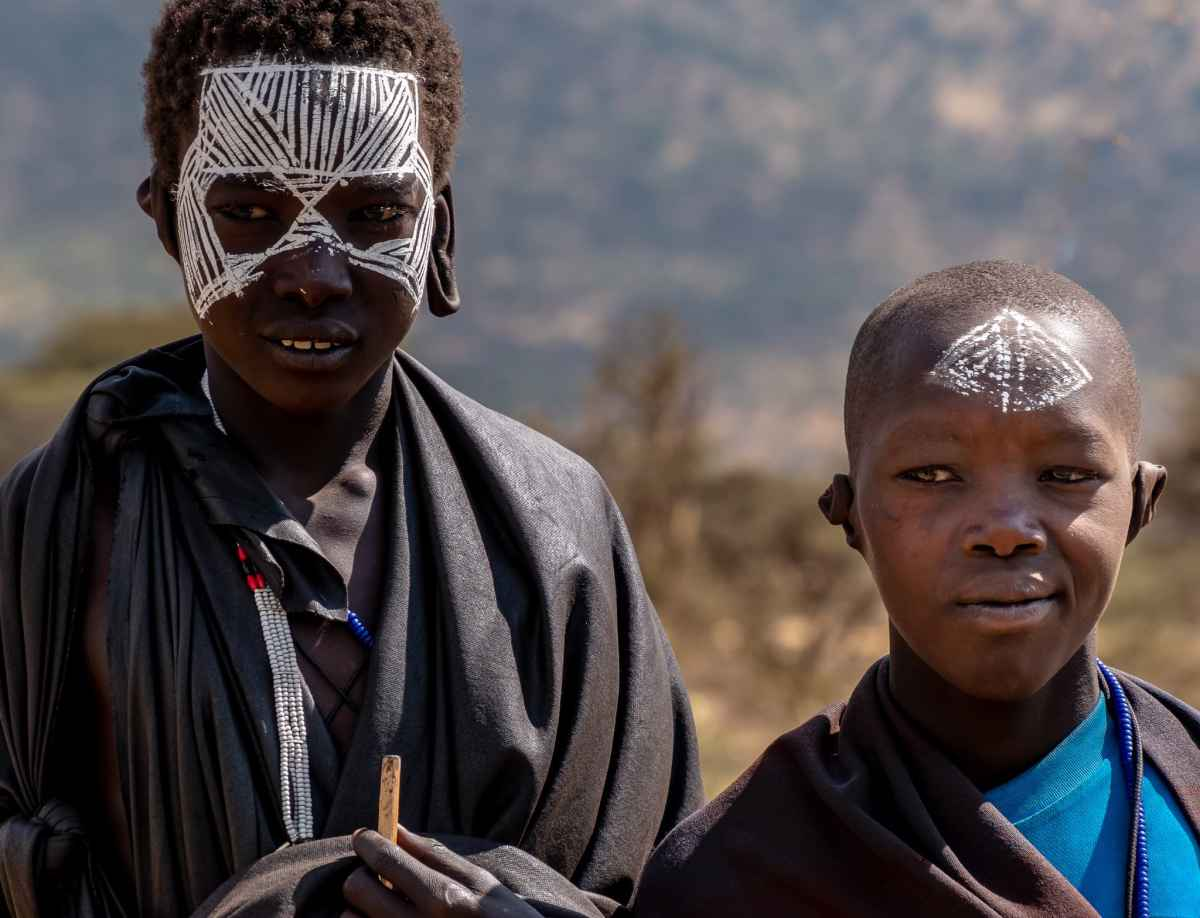 Maasai boys going through their circumcision ritual