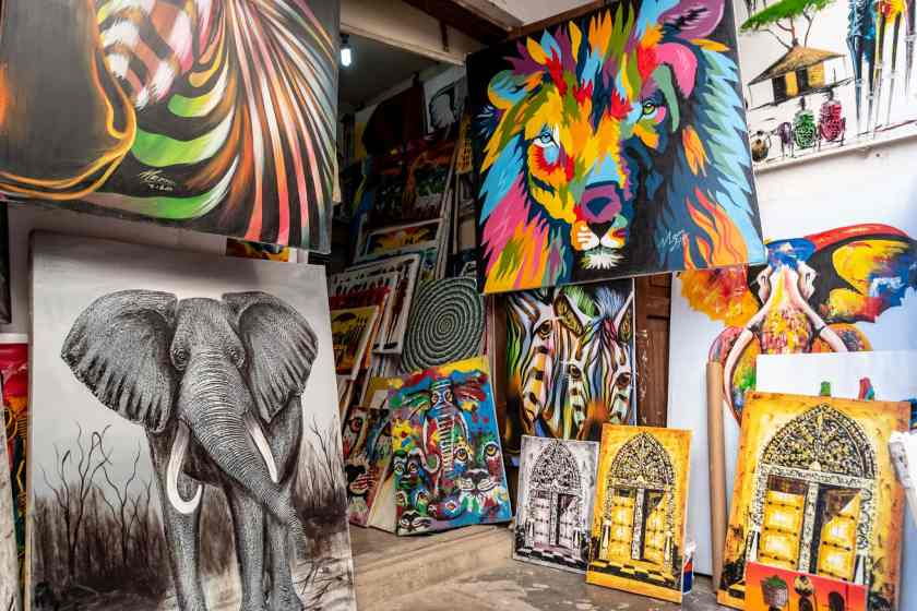 colorful paintings in Stone Town