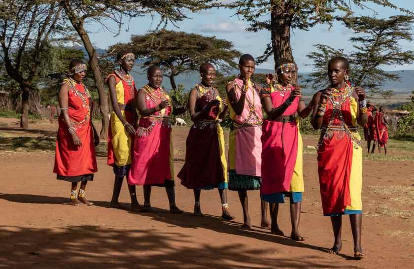 The Maasai women chanting their traditional dance