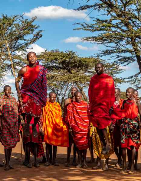 Maasai men doing a jumping competition