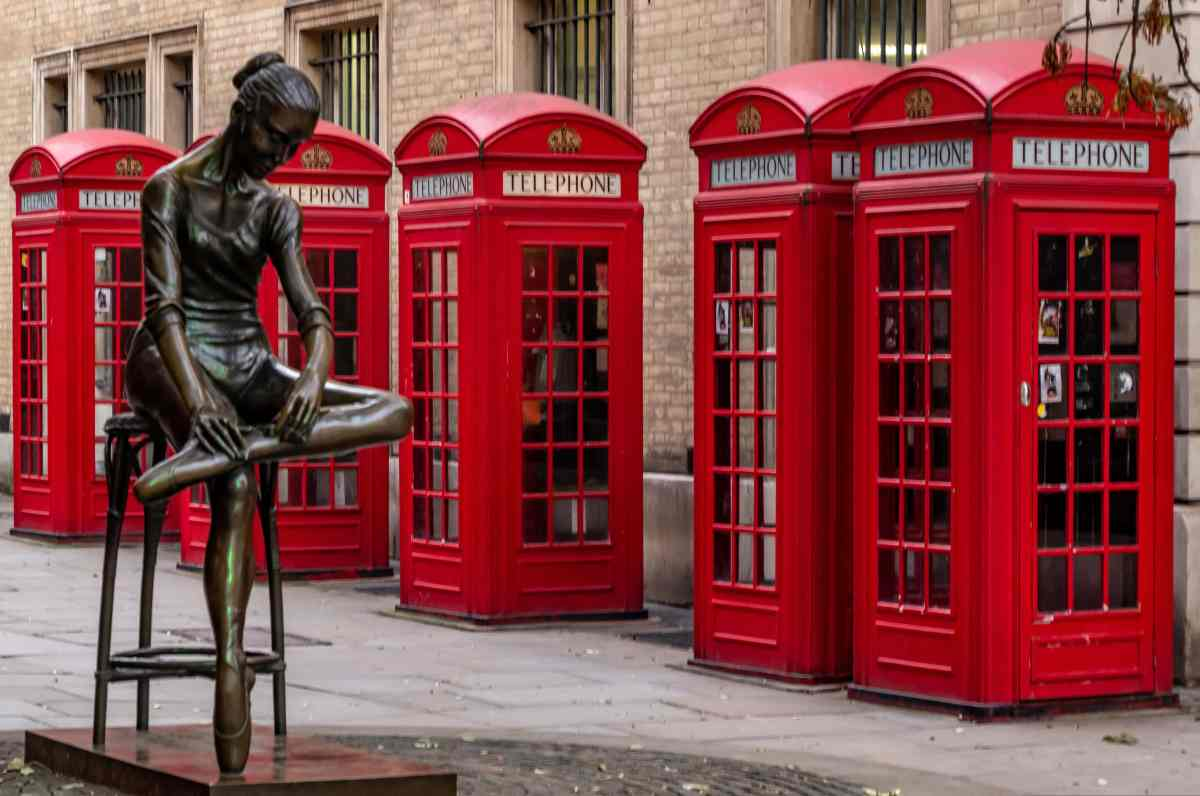 PhotoPOSTcard: Five Red Phone Boxes and a Ballerina