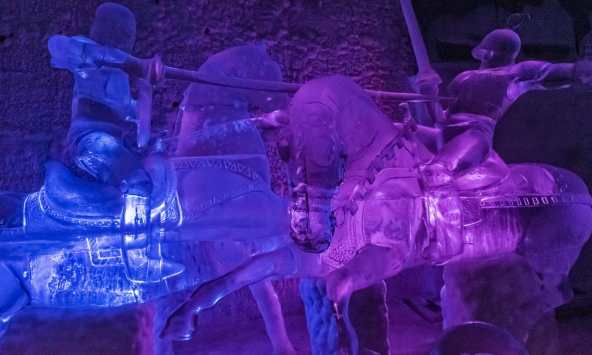 jousting ice sculptures in the Aurora Ice Museum