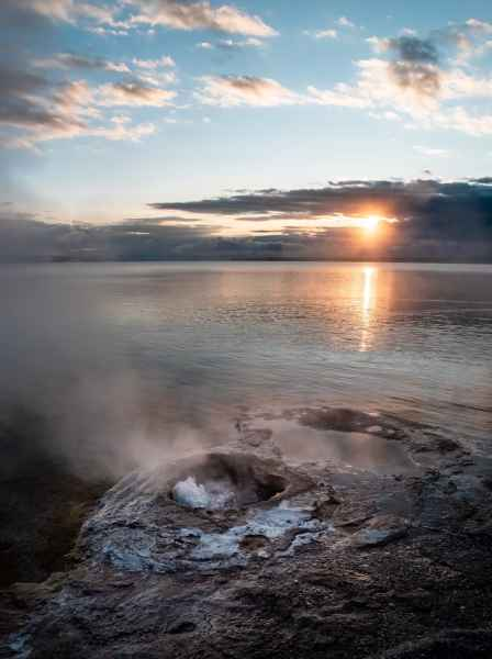 Sunrise over West Thumb Geyser Basin and Yellowstone Lake