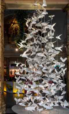 Christmas tree made of white doves at the V&A