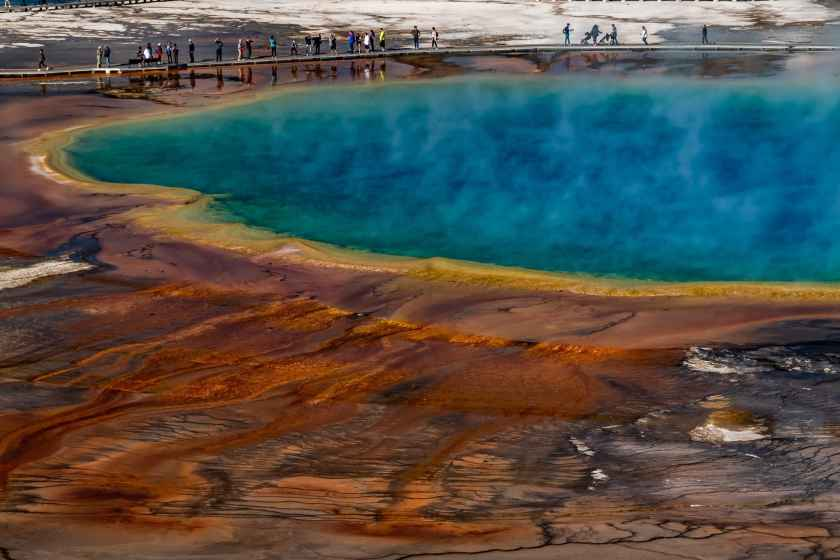 Looking out over the Grand Prismatic Spring