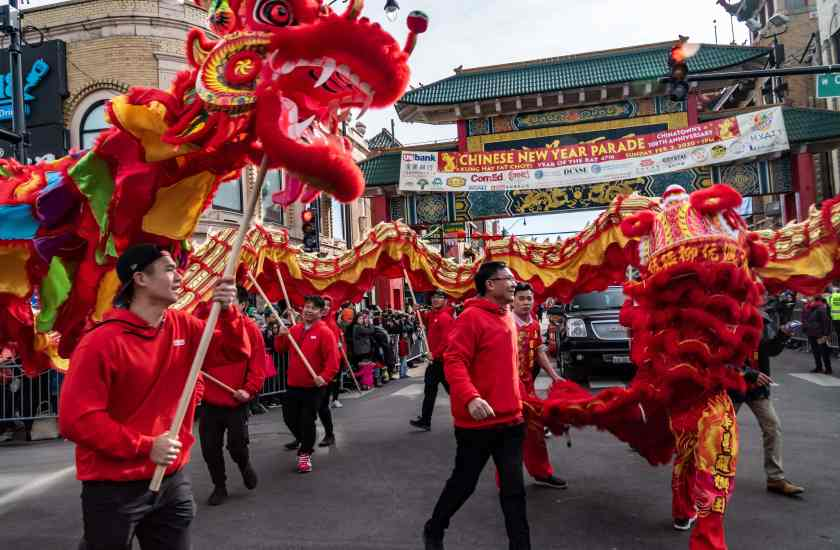 Chinese Newr Year parade in Chicago's Chinatown