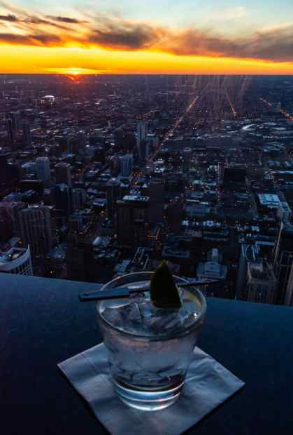The sunset views from the Signature Lounge on top of the John Hancock Building