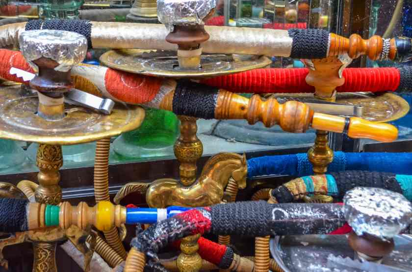 Colorful hookahs on display and ready to be used