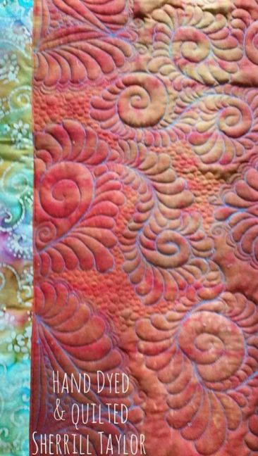 free form quilting on Hand dyed Kona