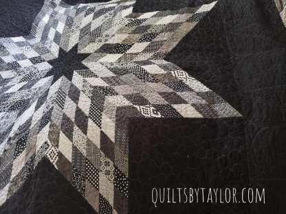 Black and white Lone Star Quilt