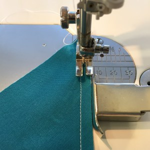 Fabric positioned in the machine