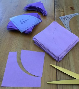 Fabric squares trimmed to shape