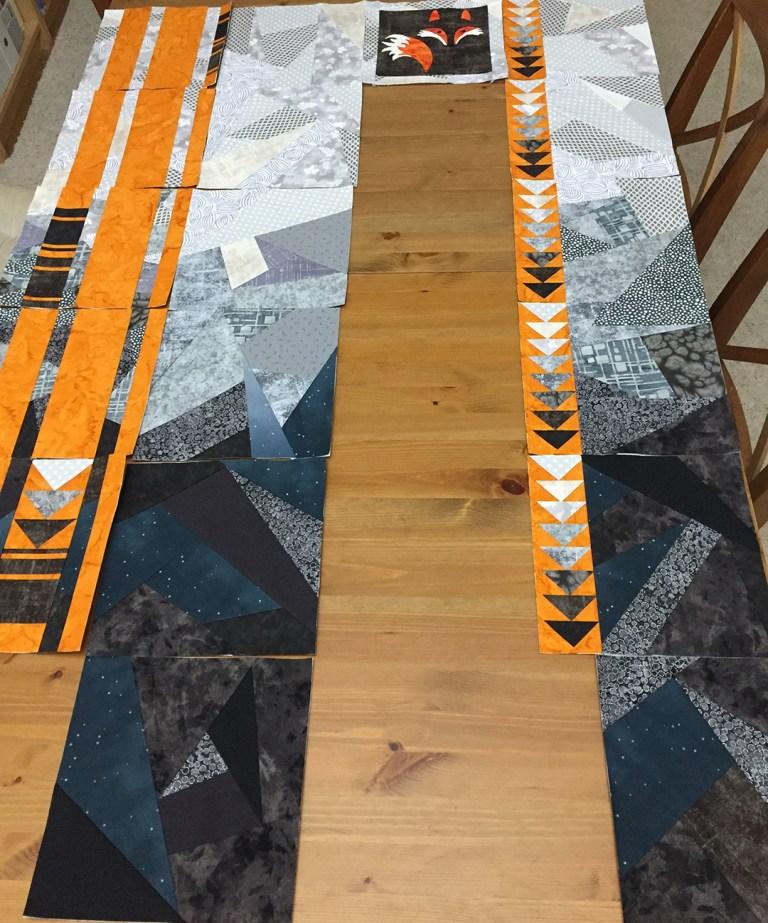 Quilt, partly assembled