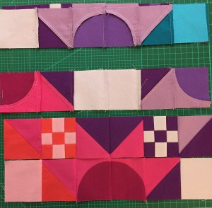 Matching rows of units to sew them