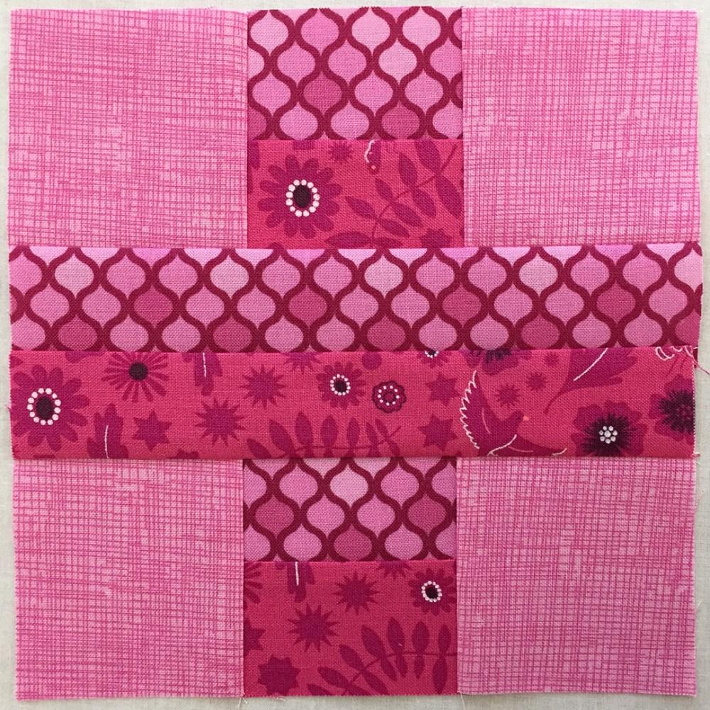 quilt block in pink