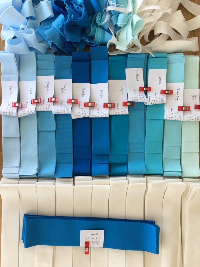 cut and labeled fabric strips