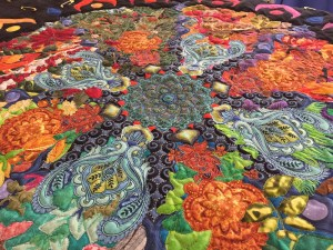 detail of the mandala center showing quilting texture