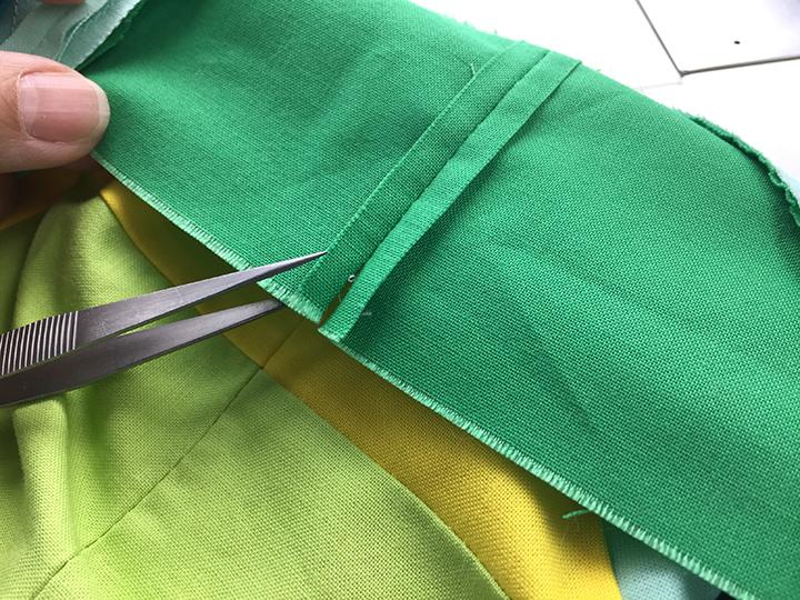 opened seam at edge of quilt
