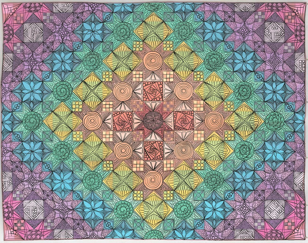 a photo of a quilt with drawn lines over it to show where the quilter plans to quilt it