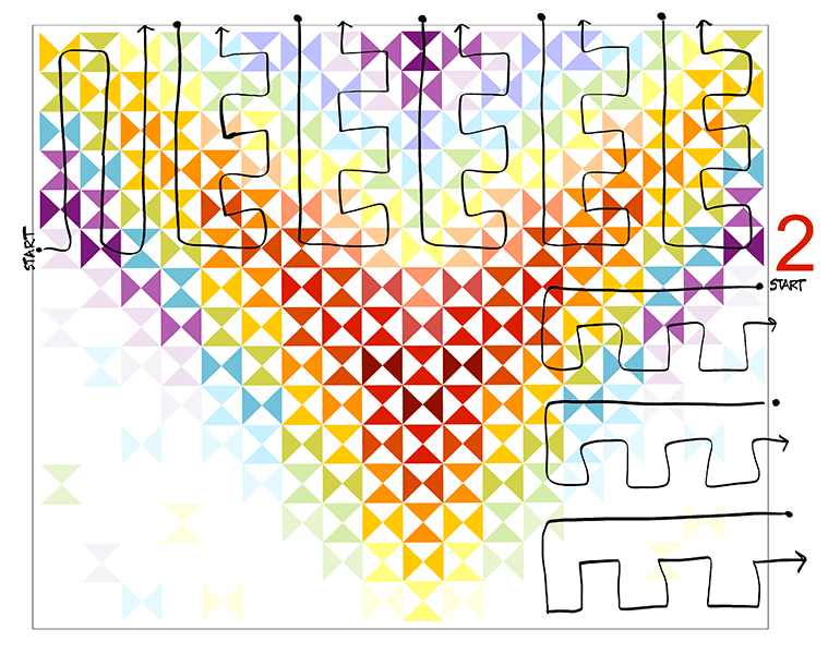 diagram of a quilt showing how I quilted it