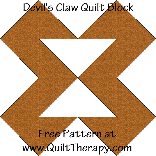 Devil's Claw Quilt Block Free Pattern at QuiltTherapy.com!