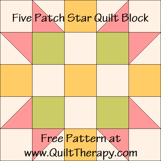 Five Patch Quilt Block Free Pattern at QuiltTherapy.com!