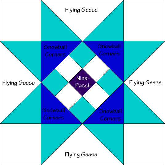 Eight Pointed Star Variation Quilt Block Diagram