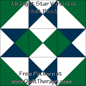 Midnight Star Variation Quilt Block Free Pattern at QuiltTherapy.com!