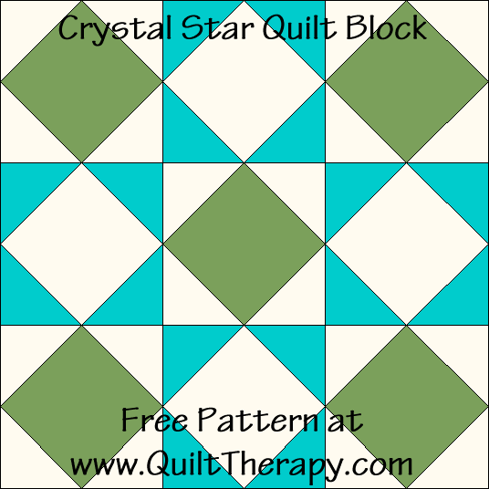 Crystal Star Quilt Block Free Pattern at QuiltTherapy.com!