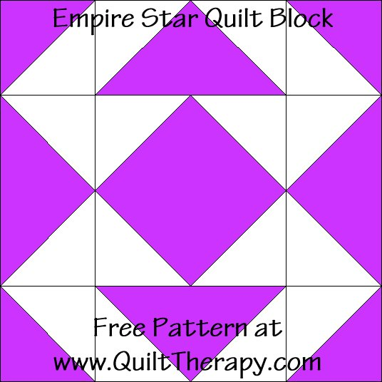 Empire Star Quilt Block Free Pattern at QuiltTherapy.com!