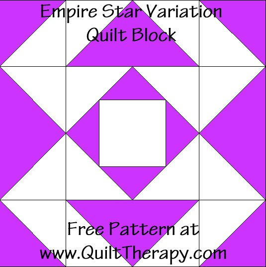 Empire Star Variation Quilt Block Free Pattern at QuiltTherapy.com!