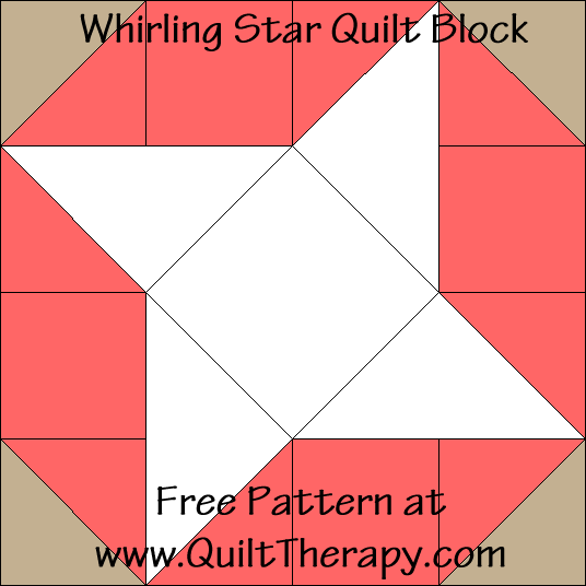 Whirling Star Quilt Block Free Pattern at QuiltTherapy.com!