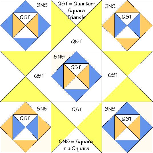 Blocks & Stars Variation Quilt Block Diagram Free Pattern at QuiltTherapy.com!